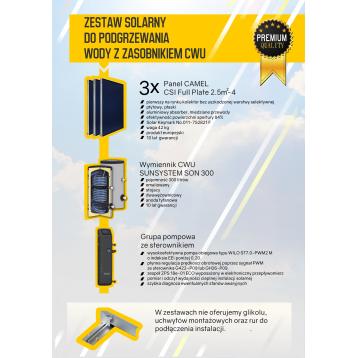 Zestaw solarny do podgrzewania wody z zasobnikiem 300L kolektory słoneczne